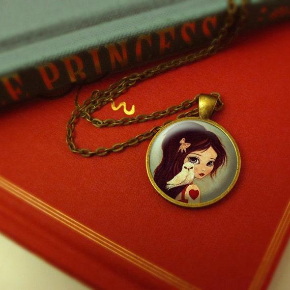 Owl Pendant Jewelry, Owl Necklace Girl Children's Jewelry, Photo Jewelry Glass Pendant Gift Girl, Girl Necklace, Girl, Owl - Owlways