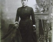 Scary Lady-Fingerless Black Gloves-Umbrella-Props-Antique Cabinet Photo-New York