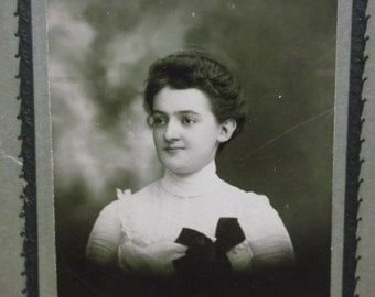 Pretty Lady-Fashion-Big Bow-Ruffles-Eyes-Hair-Antique Cabinet Photo-Allentown,PA