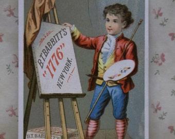 Young Artsist Boy-Palette-Easel-Victorian Trade Card-BT Babbitt's 1776 Soap-NY