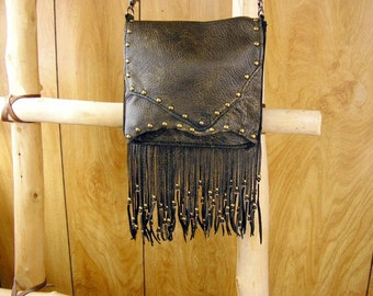 "Black and Gold Leather Purse, Cross-body Bag, beaded fringe, ball button, brass studs, 48"" removable chain strap, 7.5"" x 6.5""  x 1.5"""