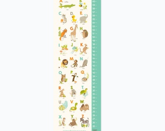 Animals GROWTH CHART - Alphabet ABC - nursery wall decor, Kids Growth Chart, Wall Growth Chart, Wall Height Chart, Kids Height Chart