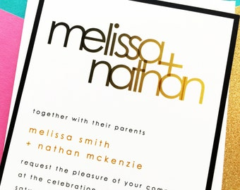 Modern Wedding Invitations - Wedding Invites - Modern Names Overlay