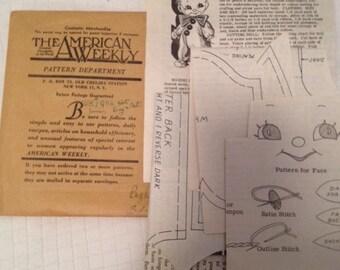 The American Weekly 3159  Vintage 1946 Rag Doll Sewing Pattern