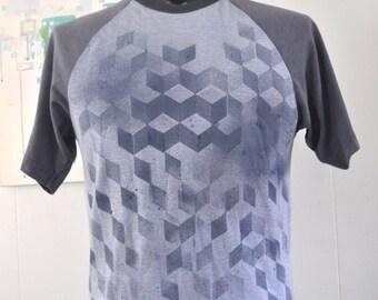 Qbert Cubes Tee Faded Steel Blue Gray All Over Original Design TShirt Geometric Abstract Slim MEDIUM