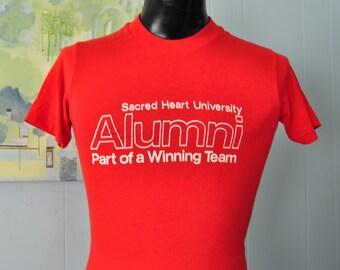 80s Sacred Heart University Tshirt Vintage Super Soft n Thin Red White Tshirt SMALL