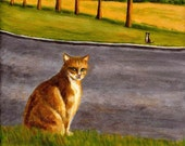 """cat art print acrylic painting """"An Obscure Communication Between Cats"""" cat lover's gift wall room home decor desk decoration"""