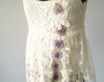 art to wear, upcycled clothing, boho lace top, beige lace top, gypsy clothing, boho clothing, lace flower top