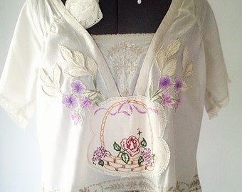 large size top, bohemian clothing, rustic blouse, beige applique top, beige embroidered top, plus size clothing