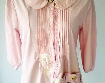 upcycled clothing, wearable art, crinoline lady, pink jacket, vintage top, vintage lace, doilies