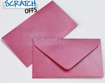 "Mini Envelopes 10 Metallic Hot Pink Wedding Favors Lottery Ticket Mini Envelopes 2.5 x 4.25"" Lotto Shower Baby Scratch Matte"