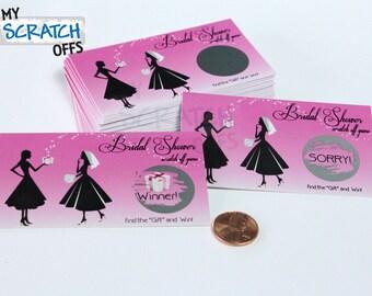 Bridal Shower Scratch Off Game Pink Vintage Scratch-Off Game Card for Bridal Engagement Wedding Shower Ticket Favor