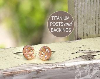 Peach Glitter Studs Faux Druzy Titanium Post Earrings, 8mm Faux Drusy