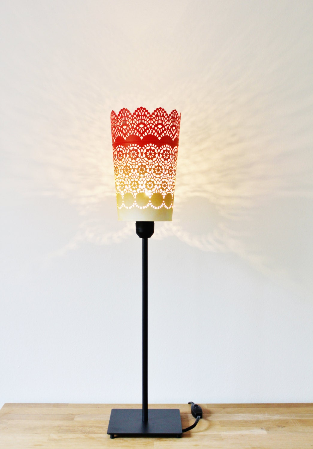 Ombre table lamp black metal base red orange yellow metal zoom geotapseo Image collections