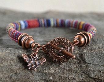 Boho single Wrap Primary Stripe Charm Bracelet