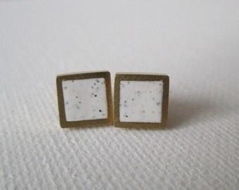 White granite brass square stud earrings