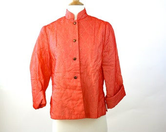 Vintage 50s Bed Jacket Coral Quilted Nylon w Gold Metallic Thread Original Paulette Chicago