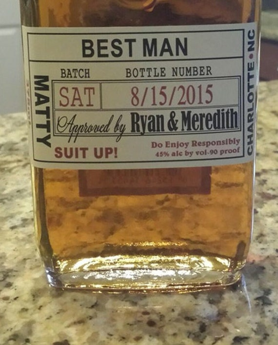 Will you be my groomsman best man gift wedding liquor for Groomsman liquor bottle labels
