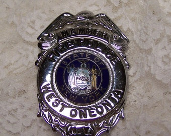Vintage Fire Police Badge, West Oneonta NYS, Fire Fighters Collectible Badge,  Firefighters Memorabilia, NYS Firemen