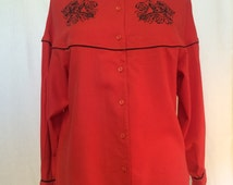 SALE!!! 1980s Vintage Bright Red Western Style Batwing Women's Shirt With 'P' Monogram printed cross-stitch motif