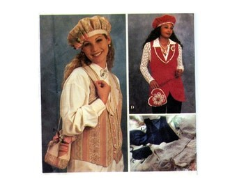 1990s Vest Beret and Bags Pattern Super Cute 90s Accessories Matching Heart Lapel Pins Hats Purses Simplicity 8700 Vintage Sewing Pattern