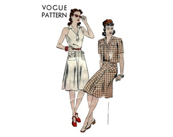 1940s Vogue Backless Dress Pattern Notched Collar Halter Dress and Bolero Vogue 9301 Bust 34 Vintage Sewing Pattern UNPRINTED