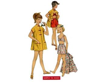 1950s Girls Swimsuit Pattern Mandarin Summer Beach Coat High Waist Shorts Bikini Bra Simplicity 1632 Size 10 Vintage Sewing Pattern