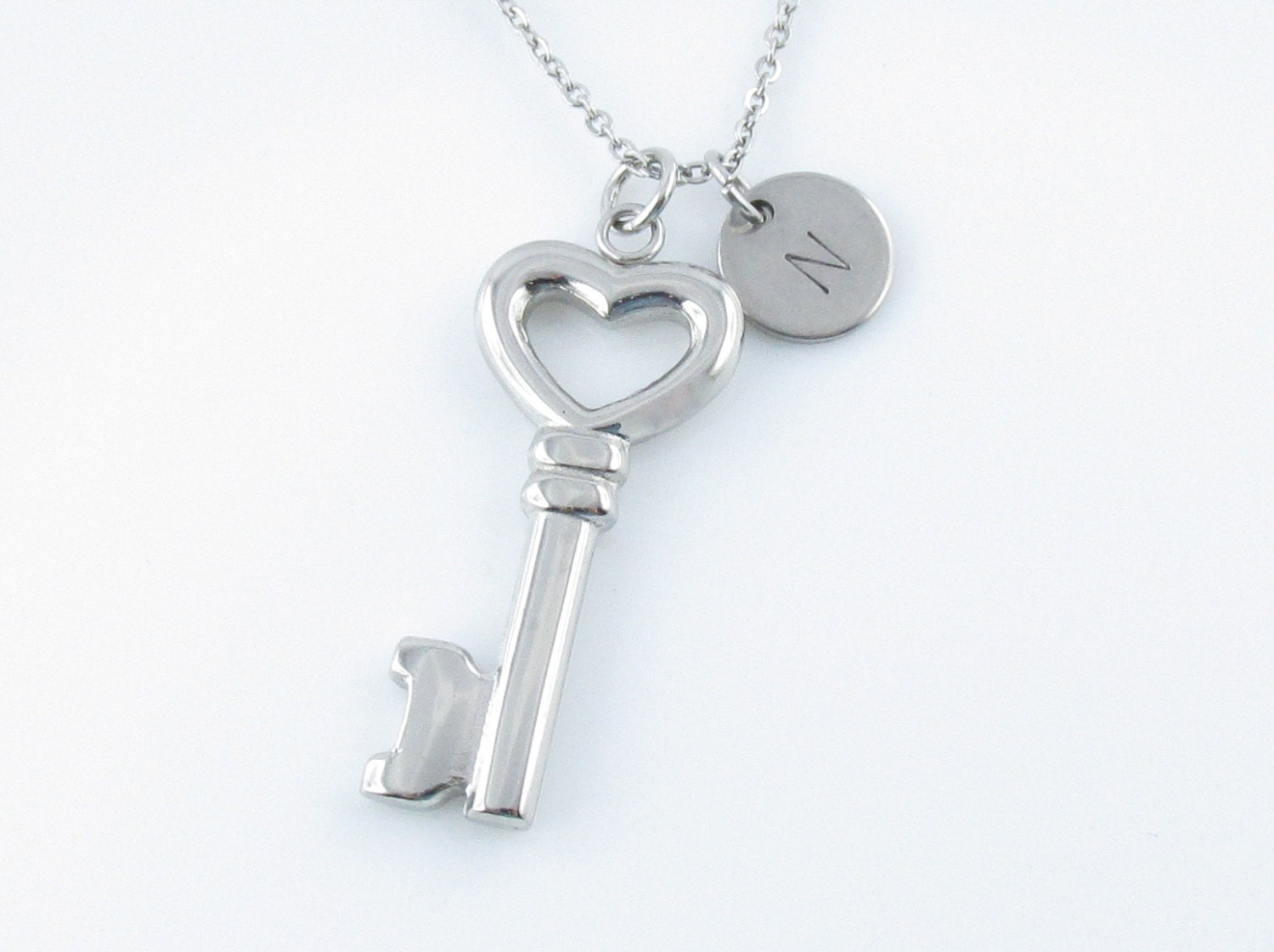 key necklace key charm necklace personalized initial