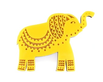SALE! Elephant Brooch, Yellow Elephant Brooch, Elephant jewellery