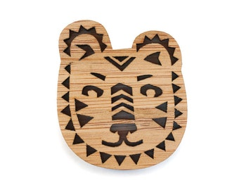 Tiger Face Brooch, Geometric patterned Tiger Brooch, Tiger jewellery
