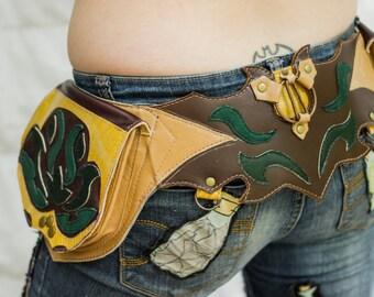 Made to order, Pick your colours 5 Pocket Leather Utility Belt- Lotus- Steampunk, Unisex Festival Belt, Burning Man, Tribal, Fairy, Lolita