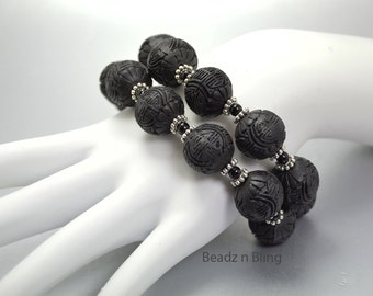 Chunky Black Bracelet Multi Strand Cuff Zen Asian Jewelry Chinese Symbol