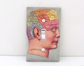 Picture of Good Health Light Switch Plate - Phrenology Decorative Decoupaged single or double switch plate - Psychology Decoration