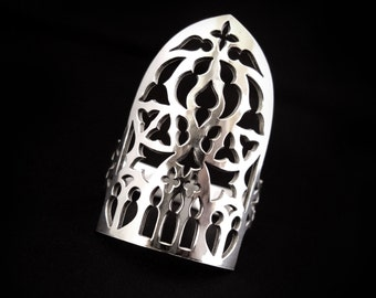 Sterling Silver Large Statement Skull Ring - Gothic Cathedral Arch Window / Shield Armor - ABADDON
