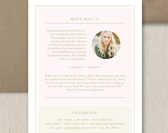 Photography Flyer - Photography Templates - About Me Page Template for Photographers - Digital Photoshop Files - Photo Marketing Branding