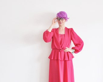 fuchsia pink secretary garden dress . embroidered flowers . peplum skirt .medium.large .sale s a l e