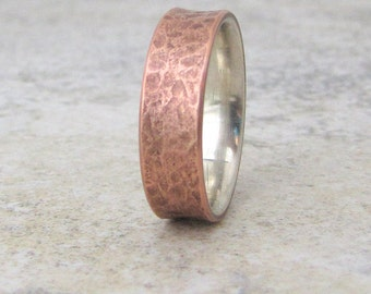 Men's Copper Ring Mens Wedding Band Copper Wedding Ring Silver Liner Rustic Wedding Bands Unique Wedding Rings Men's Jewelry Gift for Him