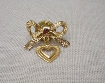 Vintage Gold Tone Bow with Heart Charm Pin