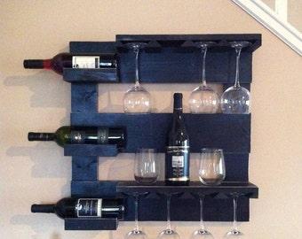 black wine rack, wine storage, wine glass holder, bar shelf, kitchen storage, hanging wine rack, wall mounted rack, rustic decor,