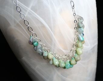 Opal teardrops in purple and green with silver chain