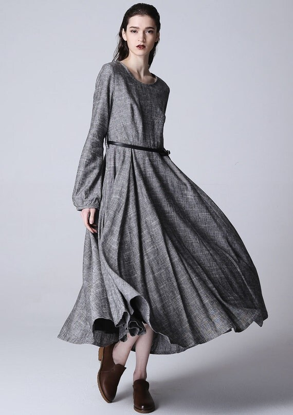 Oversized dress, Maxi linen dress, long grey dress, Linen dress, fall dress women, womens long dress, Fall clothing, Mod dress, Gift  1167