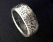Hand Forged Double Sided Silver (91.7%) Coin Ring - Indian Rupee British Victorian Coin