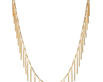 Fringe Necklace | Gold Boho Fringe Necklace | Statement Necklace