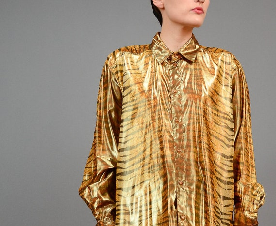 Vintage 80s TIGER Metallic Gold Lame Blouse Oversize Animal