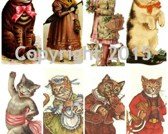 Victorian Cat Images Collage Sheet 103, Digital Scrapbooking, Prints, Instant Digital Download
