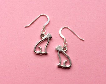 Silver cat earrings, cat outline earrings, bohemian kitten earrings, dangle earrings, animal earrings, unique jewelry, gift idea, kawaii, UK