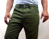 1970s Vintage Levis Green Pants - Sta-Prest - Size 38