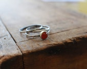 Carnelian Silver Skinnies MADE TO ORDER set of 3 thin silver rings for stacking