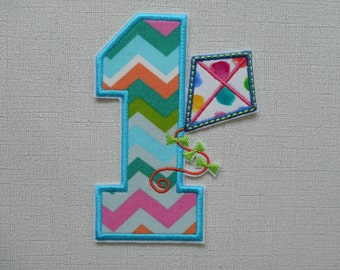 Free Shipping  Ready to SHip Number 1 Kite   Machine Embroidery Iron on applique