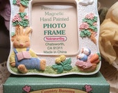 Bunny Frame Flowers White Springtime Carrots Pink Tulips Sleepy Green Yellow Longjohns Sunshine Clouds Picture Frame